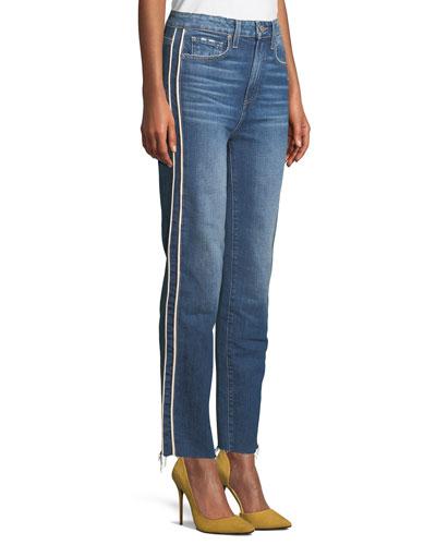 Hoxton Straight-Leg Raw-Edge Jeans w/ Piping