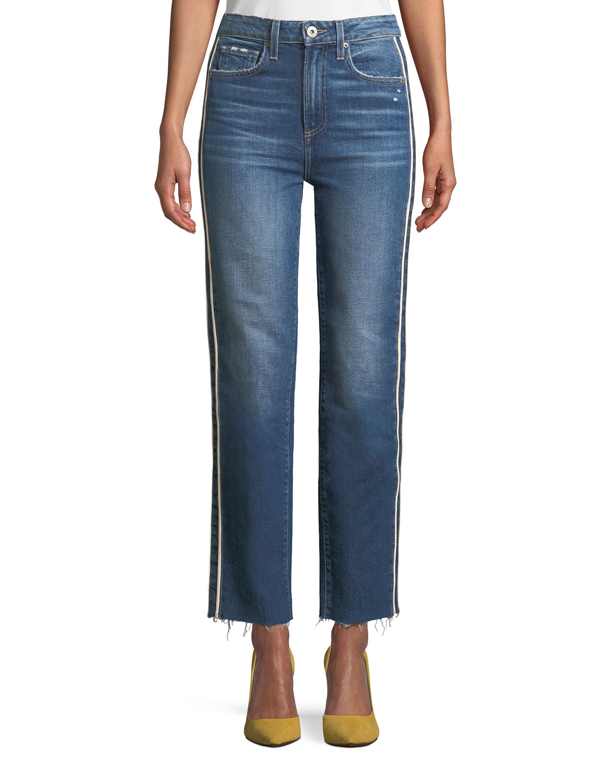 Hoxton Straight-Leg Raw-Edge Jeans w/ Piping