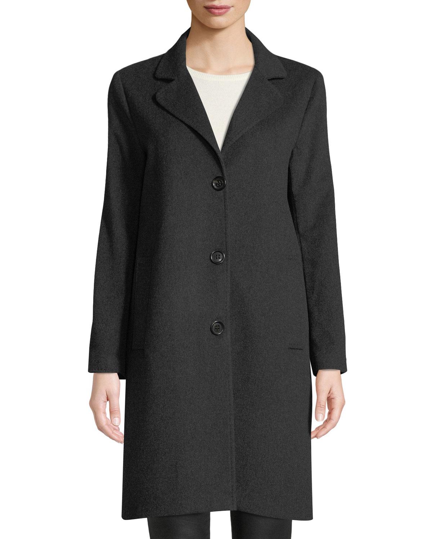 JANE POST Cashmere Single-Breasted Boyfriend Coat in Gray