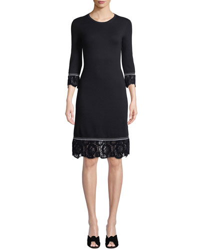 Coralie Lace-Trim Knit Dress