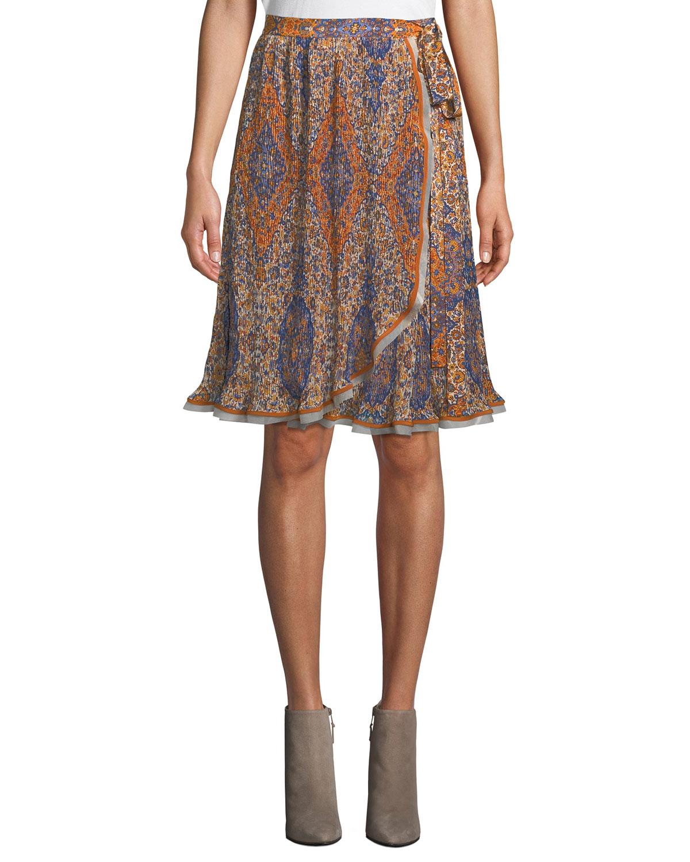 Graphic-Print Chiffon Wrap Skirt, Orange Soiree