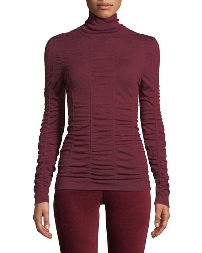 Petite Turtleneck Long-Sleeve Scrunched-Up Top