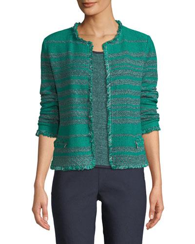 Must Have Open-Front Tweed Jacket w/ Fringe Trim, Plus Size