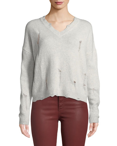 Distressed V-Neck Boxy Cashmere Sweater