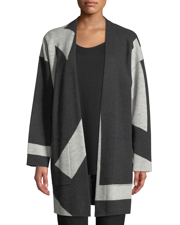 Graphic Merino Long Kimono Cardigan, Plus Size in Periwinkle
