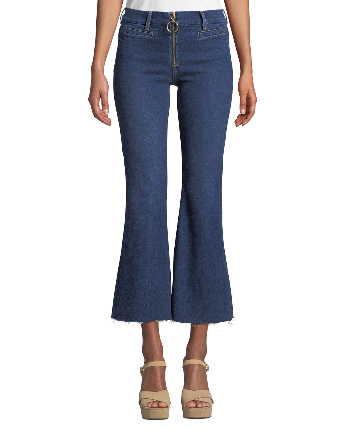 M.i.h Jeans MARRAKECH CROP KICK-FLARE JEANS WITH RING ZIP & RAW HEM