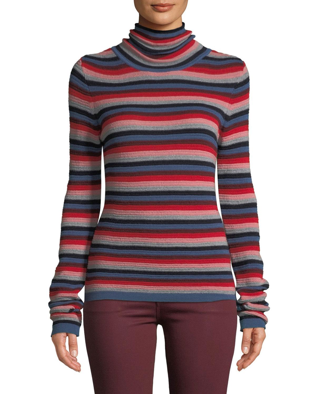 Moonie Striped Merino Wool Turtleneck Sweater
