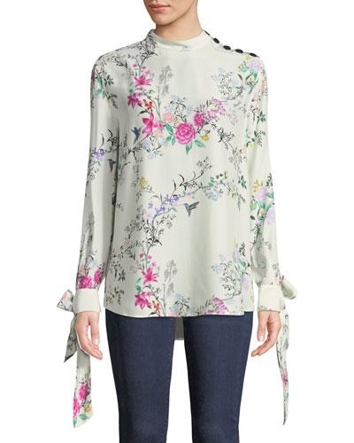 Avelaine Long-Sleeve Tie-Cuffs Floral-Print Blouse
