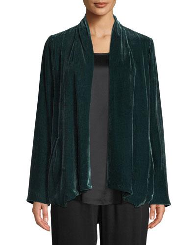 Plus Size Velvet Open-Front Jacket
