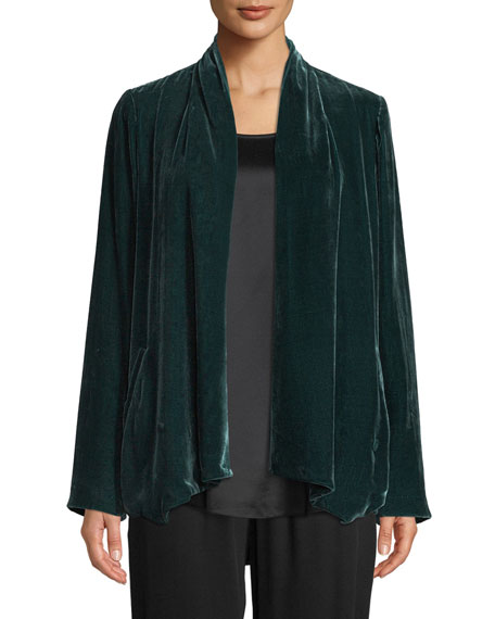 Eileen Fisher Plus Size Velvet Open-Front Jacket