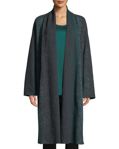 Oxidized Boiled Wool Long Kimono Coat w/ Side Slits, Plus Size