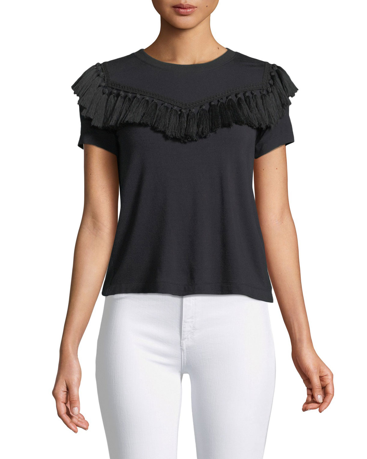 Karen Fringe-Yoke Short-Sleeve Top