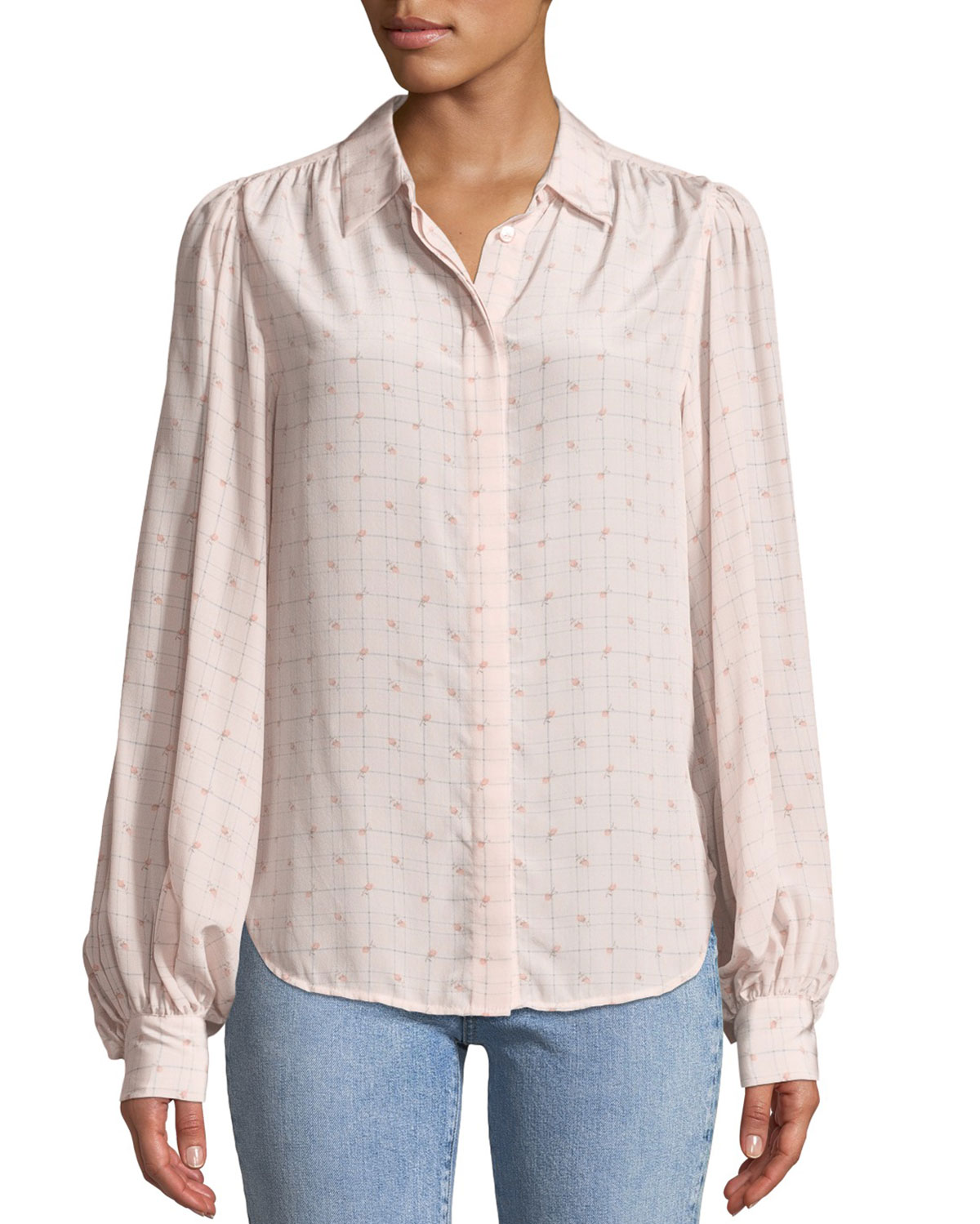 Equipment  MARCILLY BUTTON-FRONT FLORAL-PRINT GRID-CHECK BLOUSE