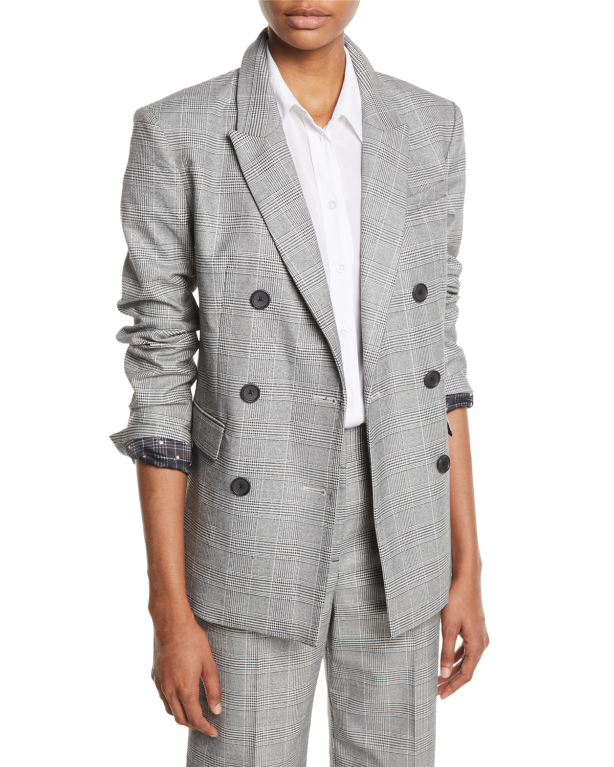 Tabitha Simmons Hamish Oversized Prince Of Wales Checked Voile Blazer in Gray