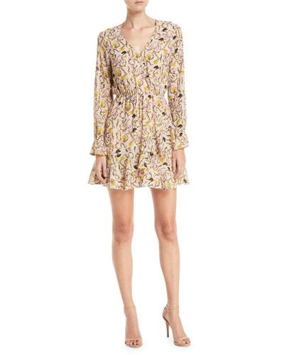 Lesli Short Floral Long-Sleeve Dress
