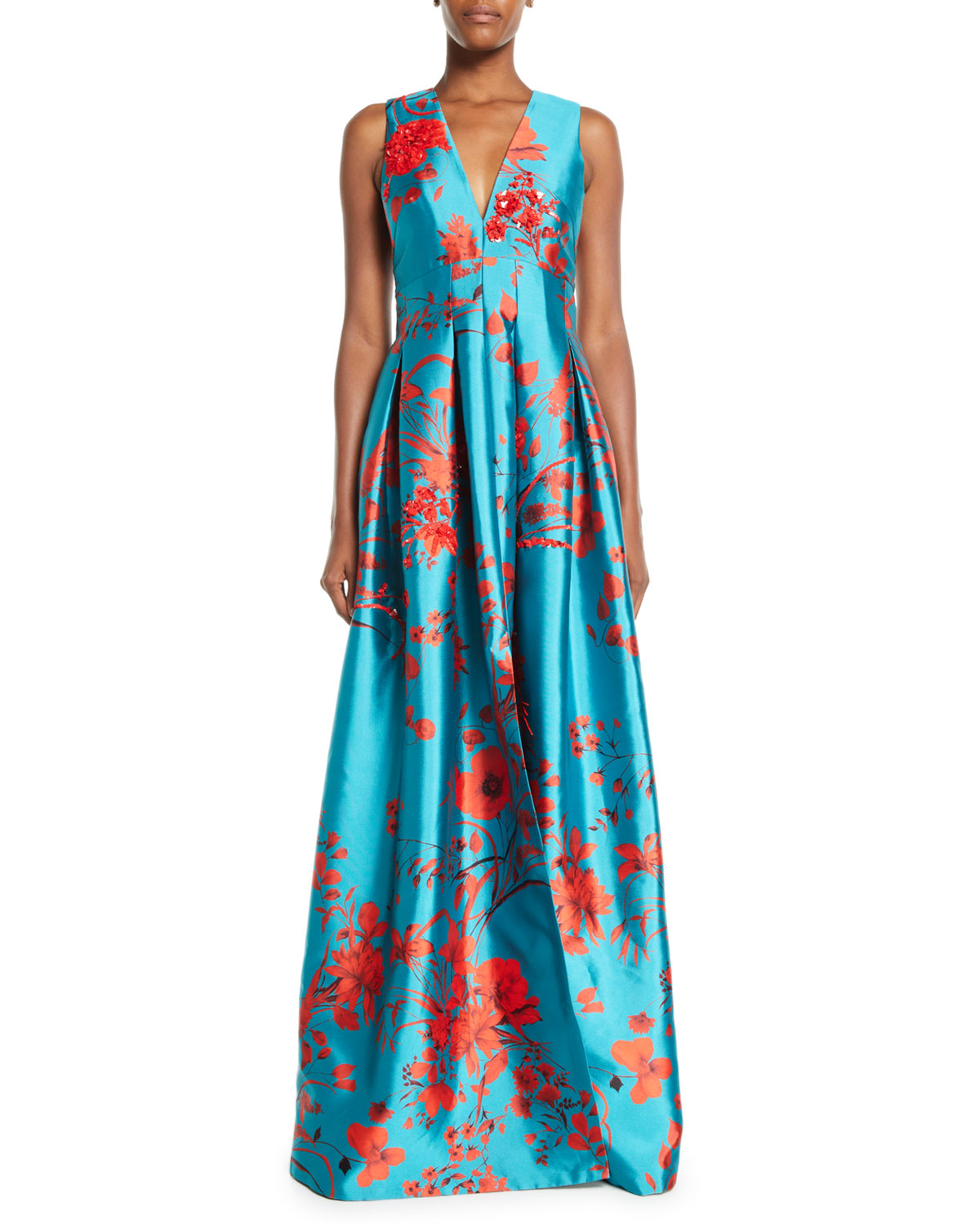 Annisa Sleeveless Ball Gown w/ Embroidery