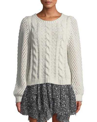 Rosie Cabled Metallic Alpaca Sweater