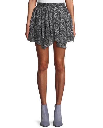 11244a38d0a04 Quick Look. Loveshackfancy · Tiered Ruffle Stars Silk Mini Skirt
