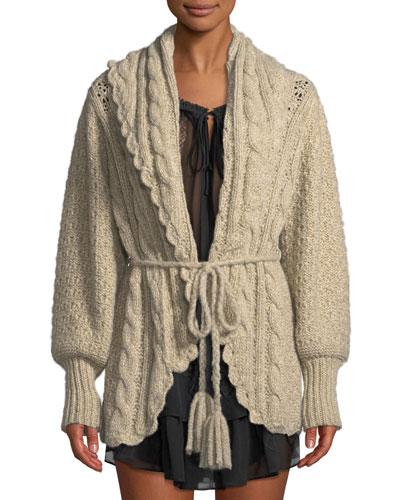 Owen Shawl-Collar Alpaca Cable-Knit Cardigan Sweater