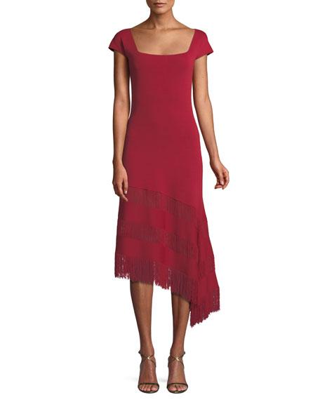 Sachin & Babi Noir Sheryl Knit Dress w/ Asymmetric Fringe Ruffles
