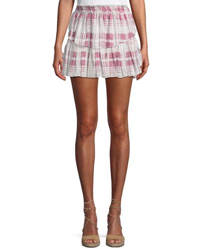 1d273e9dd8cc3 Quick Look. Loveshackfancy · Tiered Ruffle Plaid Silk Mini Skirt