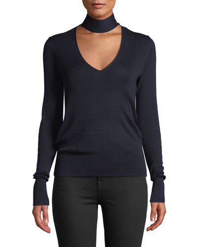 Mock-Neck Long-Sleeve Silk-Blend Sweater