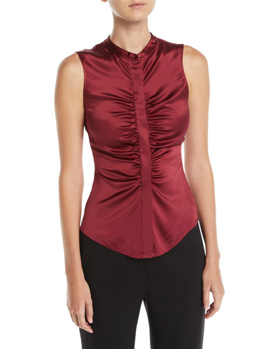 fe28931f8b8e6 Quick Look. Theory · Ruched Satin Fitted Button-Front Sleeveless Top