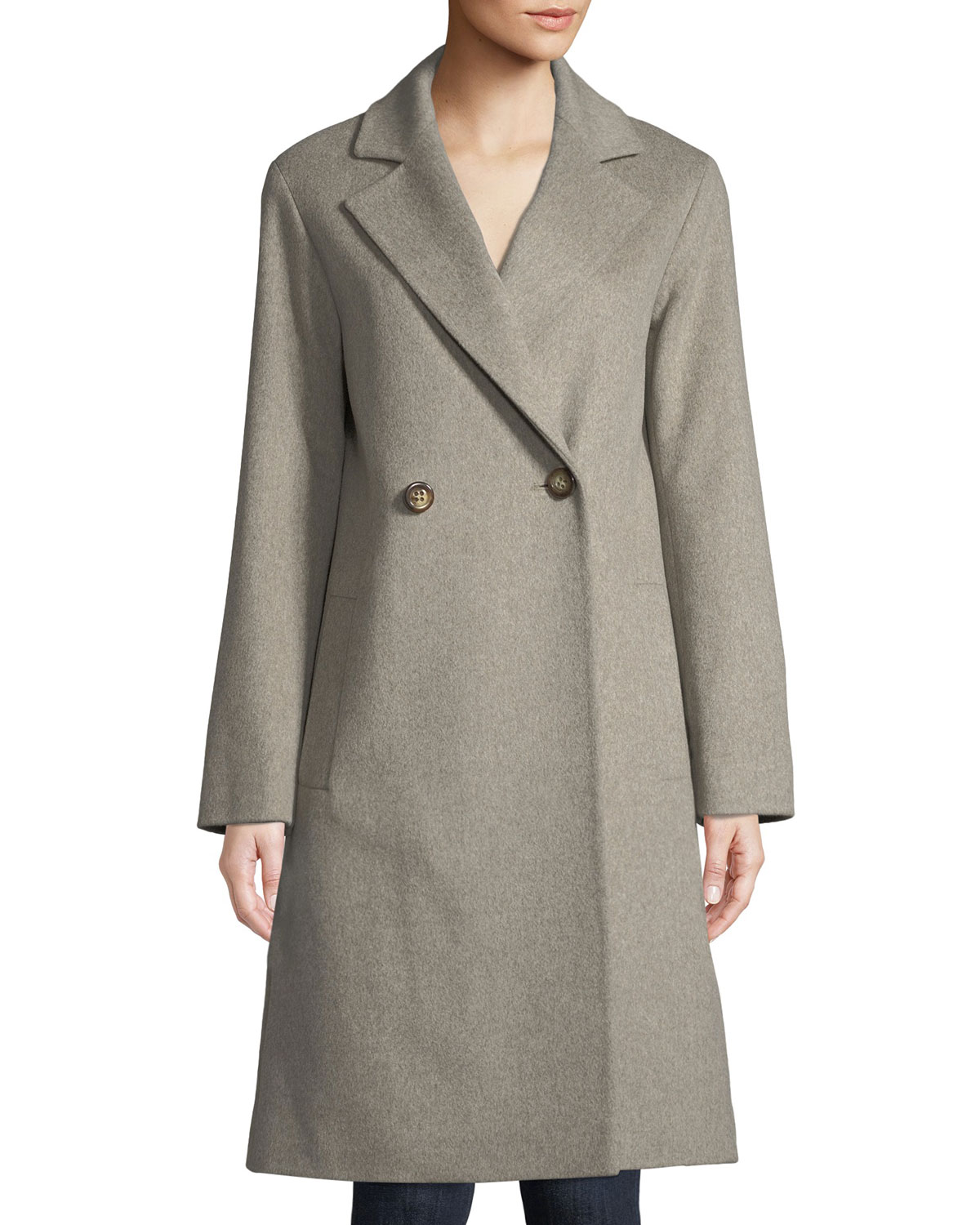 FLEURETTE Long Double-Breasted Wool Coat in Neutral Pattern
