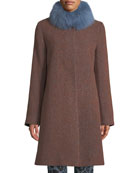 Fleurette Long Alpaca & Wool-Blend Coat w/ Fur