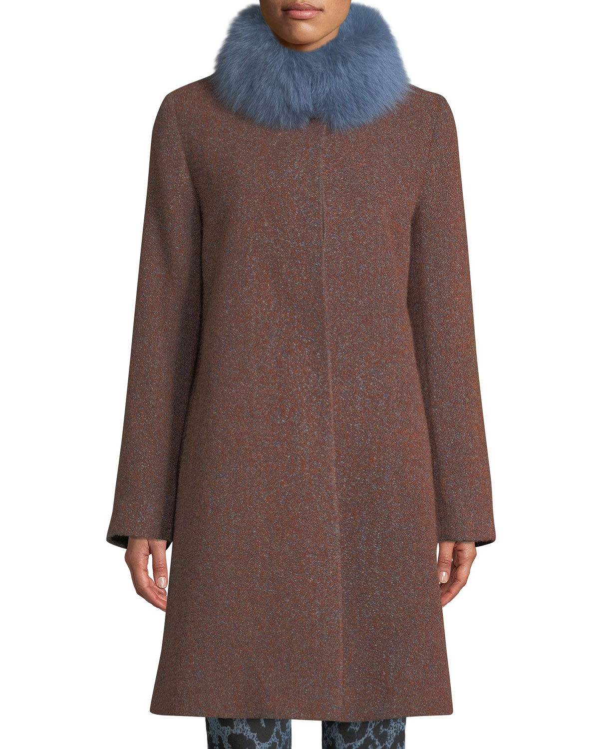 FLEURETTE Long Alpaca & Wool-Blend Coat W/ Fur Collar in Brown