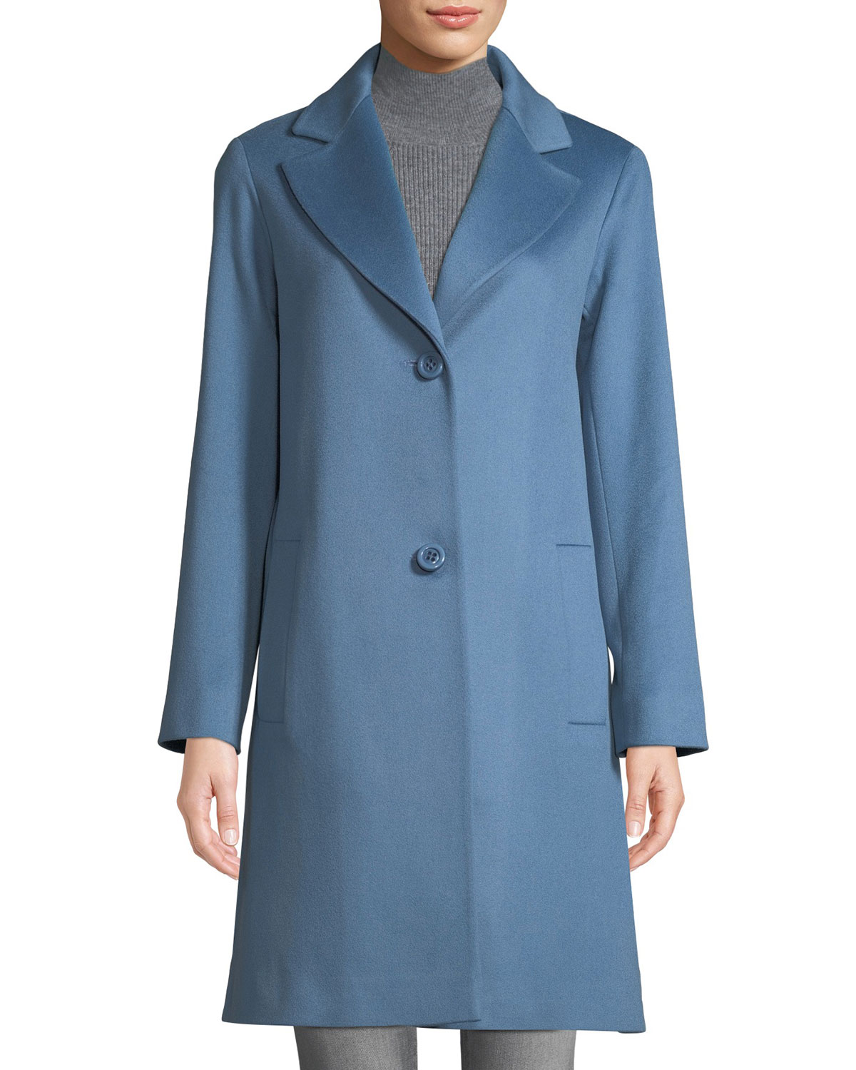 FLEURETTE Long Two-Button Wool Coat in Blue