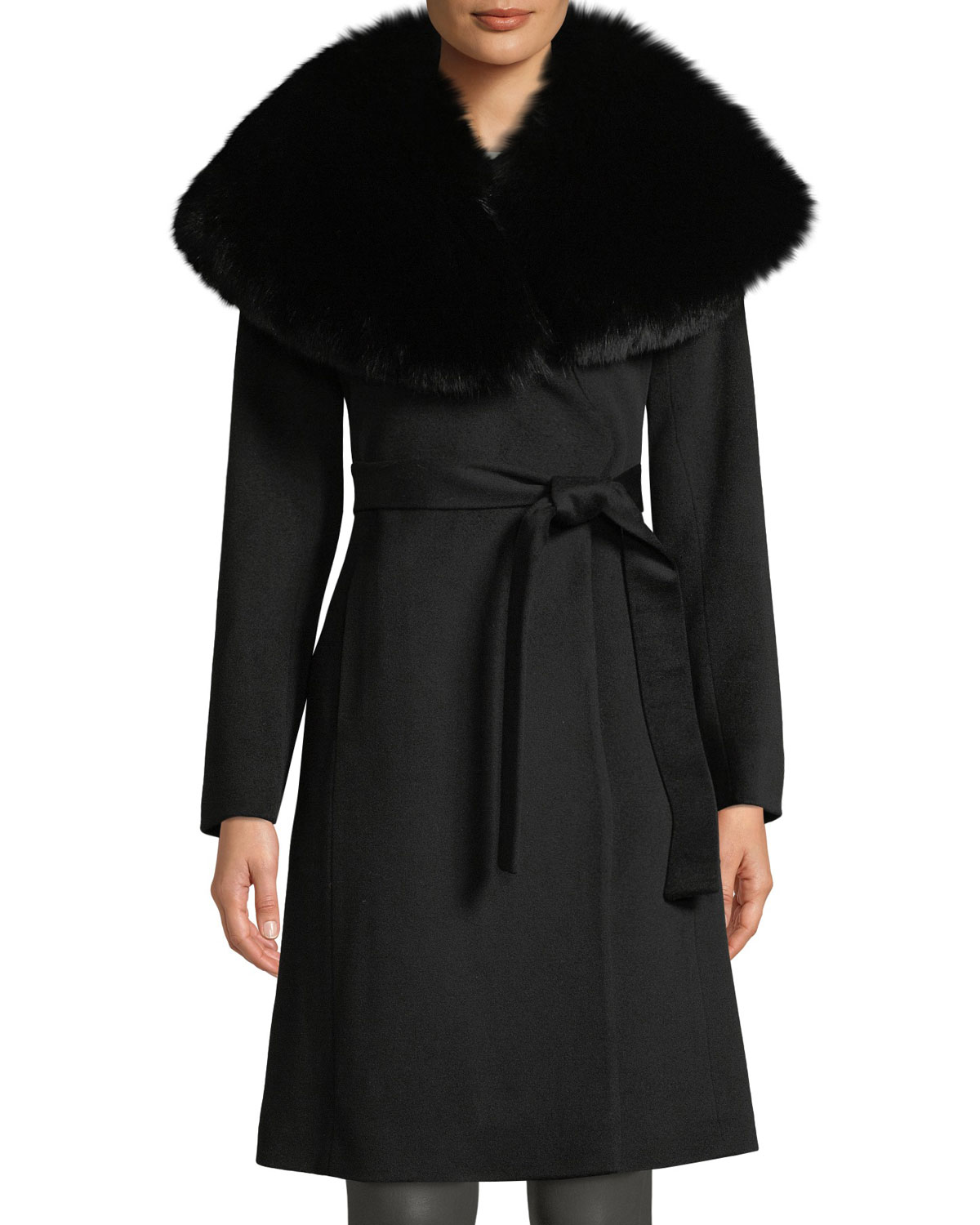 FLEURETTE Oversize Fur-Collar Wool Wrap Coat in Black