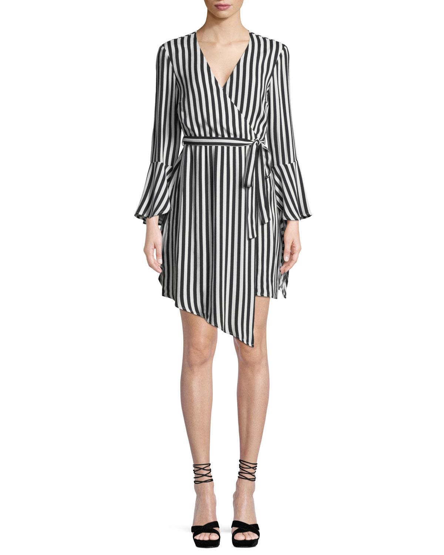 Striped Bell-Sleeve Wrap Dress