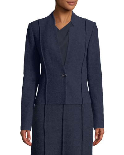 Ana Boucle Knit Seamed Blazer Jacket
