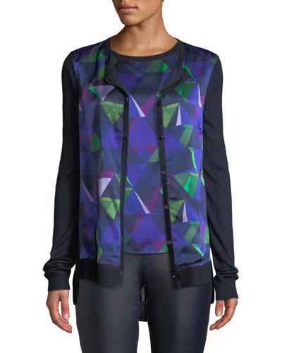 Jersey Knit Cardigan w/ Geo-Print Silk Front