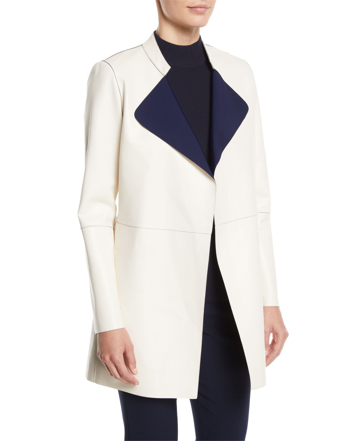 Bonded Nappa Leather Reversible Jacket in Alabaster/ Navy