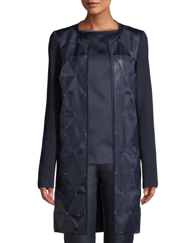 Mod Metallic Knit Topper Jacket W/ Beading & Leather Detail in Navy