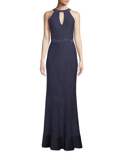 Halter-Neck Sleeveless Luxe Ottoman Knit Evening Gown w/ Sequins