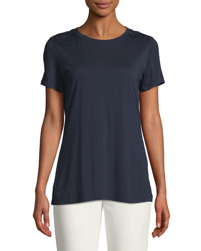 Crewneck Short-Sleeve Viscose Jersey T-Shirt w/ Sequin Detail