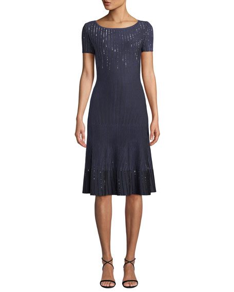 St. John Collection Bateau-Neck Short-Sleeve Luxe Ottoman Knit Fit-and-Flare Dress w/ Sequins