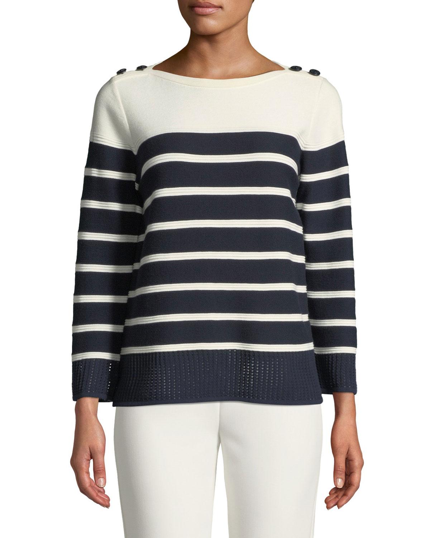 Boat-Neck Birdseye Mesh Knit Colorblock Striped Sweater
