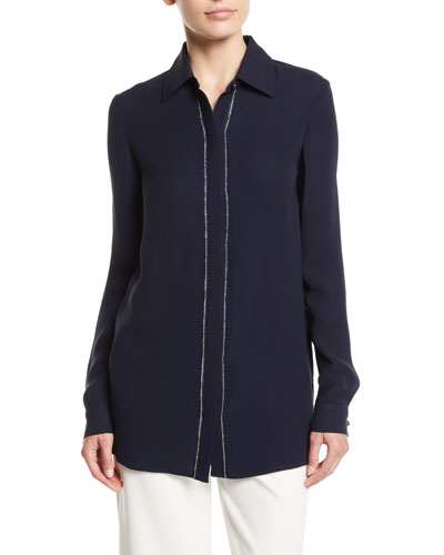 Beaded Button-Front Long-Sleeve Silk Blouse