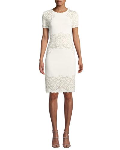 Laurel Short-Sleeve Damask-Jacquard Body-Con Dress w/ Scallop Trim
