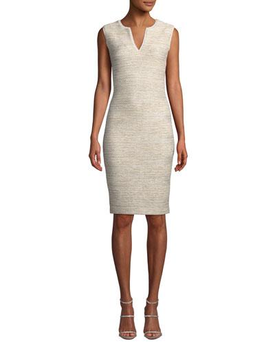 V-Neck Sleeveless Melange Tweed Sheath Dress w/ Georgette Trim