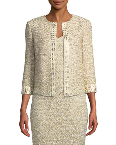 Gilded Eyelash Knit Jacket with Hand-Beaded Trim
