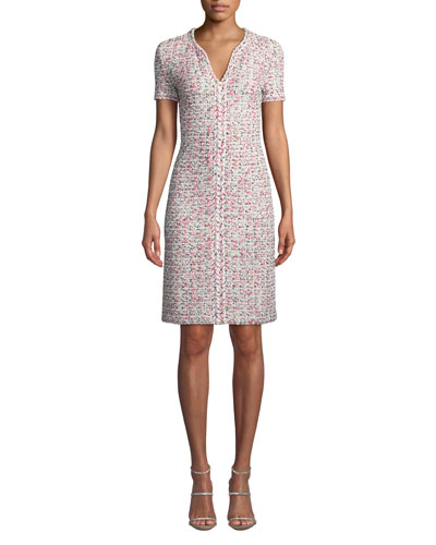 V-Neck Short-Sleeve Modern Pointelle Knit Dress w/ Braided Trim