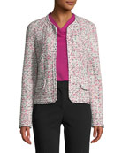 St. John Collection Modern Pointelle Tweed Knit Jacket
