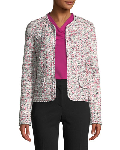 Modern Pointelle Tweed Knit Jacket w/ Braided Trim