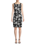 St. John Collection Blister Sleeveless Floral-Jacquard Body-Con
