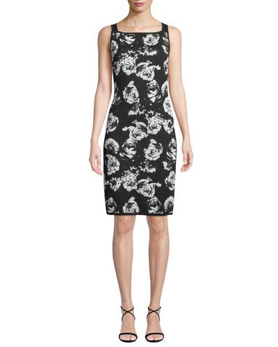 Blister Sleeveless Floral-Jacquard Body-Con Knit Dress